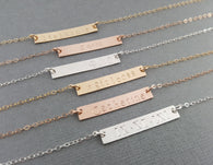Personalized Hand Stamped Bar Necklace