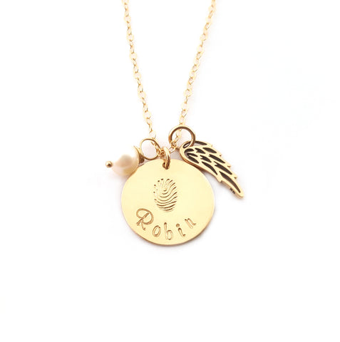 Fingerprint Custom Name Disc Memorial Angel Wing Necklace - 14k Gold Filled Jewelry - Personalized Necklace - Gift For Her