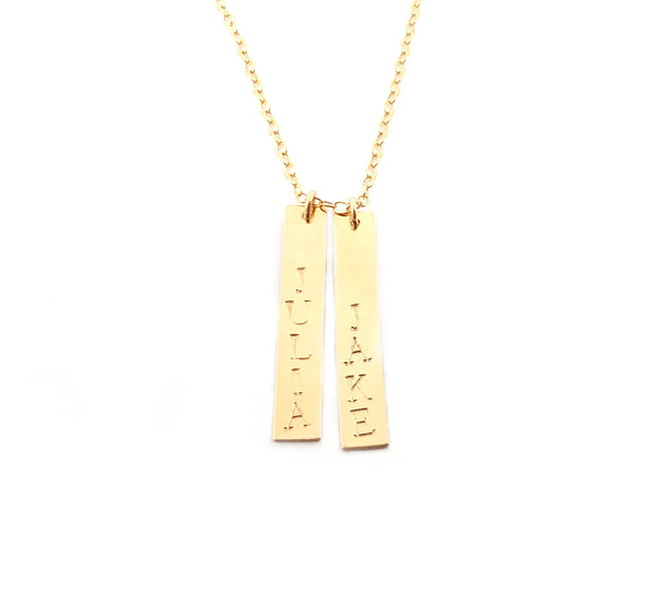 Vertical Gold Bar Name Necklace - 14k Gold Filled Jewelry - Personalized Necklace - Gift For Her