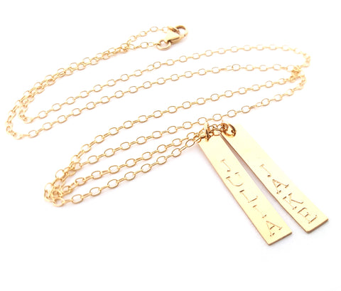 Vertical Gold Bar Name Necklace 14k Gold Filled Jewelry