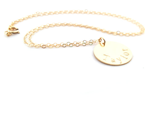 Gold Name Disc Necklace - Personalized Jewelry - Gift For ...