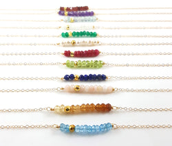 Gemstone Bar Necklace - Birthstone Dainty Bar 14k Gold Fill Wire Wrapped Necklace - Gift for Her