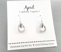 April Birthstone Sterling Silver Teardrop Crystal Earrings