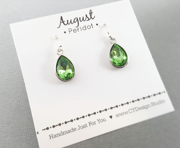 August Birthstone Earrings - Peridot Crystal Sterling Silver Teardrop Earrings