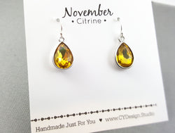 November Birthstone Earrings - Citrine Crystal Sterling Silver Teardrop Earrings