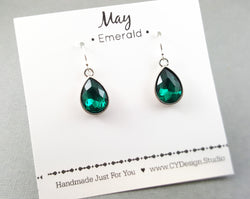 May Birthstone Earrings - Emerald Crystal Sterling Silver Teardrop Earrings