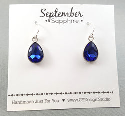September Birthstone Earrings - Sapphire Crystal Sterling Silver Teardrop Earrings