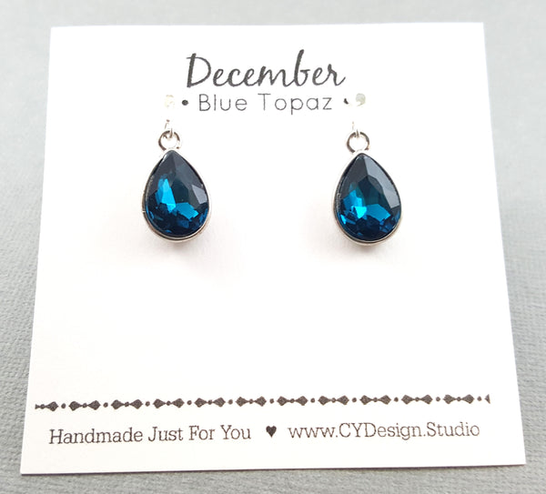 December Birthstone Earrings - Blue Topaz Crystal Sterling Silver Teardrop Earrings