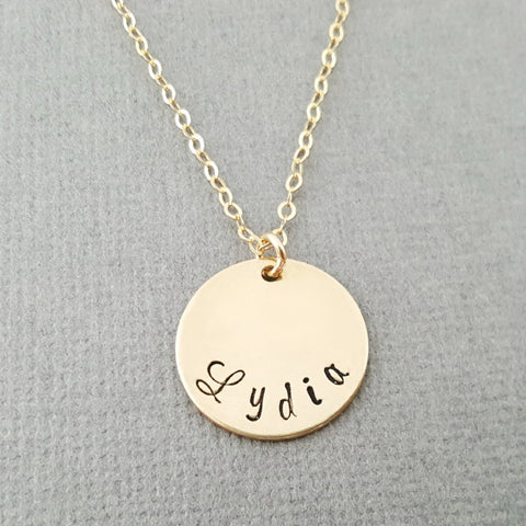 Mom Necklace - Custom Hand Stamped Name Disc Gold Necklace - 14k Gold Filled Jewelry