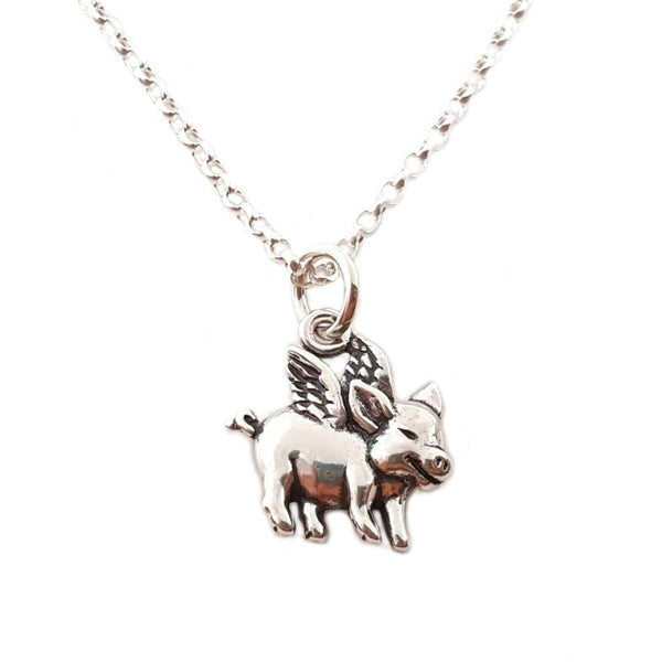 Flying Pig Charm Sterling Silver Necklace