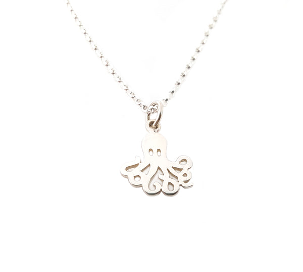 Octopus Charm Sterling Silver Necklace