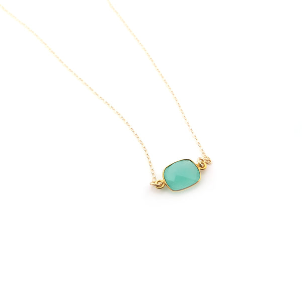 Chalcedony Gemstone Necklace - Gemstone Necklace - Gold Necklace