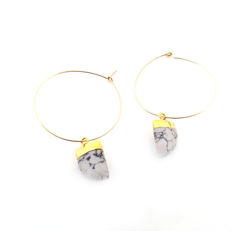 Melanie Hoop Earrings - Drop Earrings - Gold Hoops