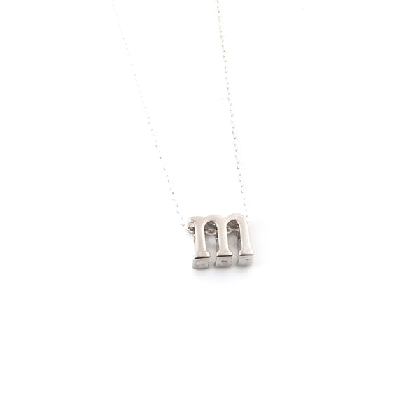 Silver Slide Initial Necklace - Initial Necklace for Her - Alphabet Letter Charm Necklace