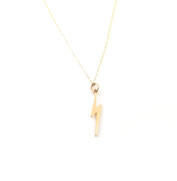 Gold Lightening Bolt Charm 14k Gold Filled Necklace Simple Jewelry - Dainty Gold Necklace - Simple Necklace