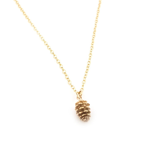 Gold Pinecone Charm 14k Gold Filled Necklace Simple Jewelry - Dainty Gold Necklace - Simple Necklace
