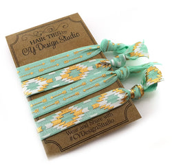Tribal Pattern Hair Ties Set -Teal Hair Tie Gift Set - Arrows  - Gold Foil -  Ouchless Hairties - Party Favors