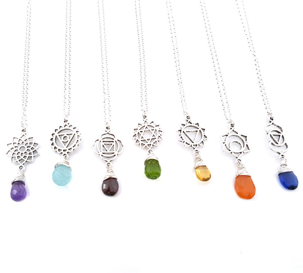Silver Chakra Drop Down Briolette Necklace - Chakra Necklace - Gemstone Necklace - Pendant Necklace - Wire Wrapped Gemstone - Gift for Her