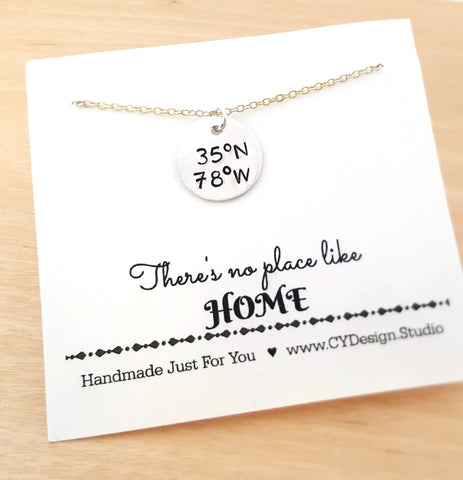 Coordinates Necklacce - Raleigh NC Coordinates - Custom Handstamped Coordinates Necklace - Sterling Silver Necklace - Gift for Her