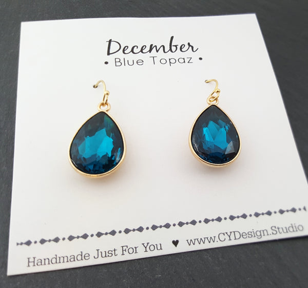 December Birthstone Earrings - Blue Topaz Crystal Gold Filled Teardrop Earrings - Gift for Her