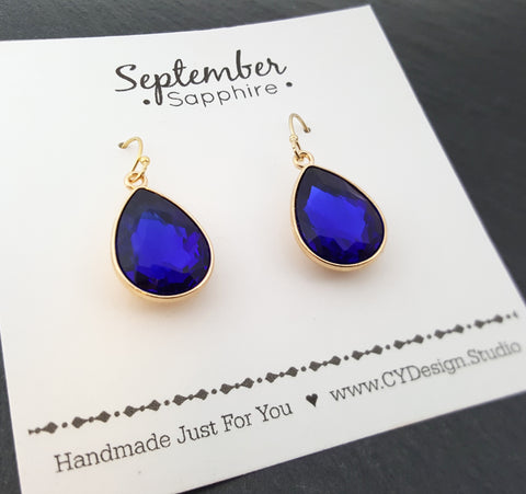 September Birthstone Earrings - Sapphire Crystal Gold Filled Teardrop Earrings - Gift for Her