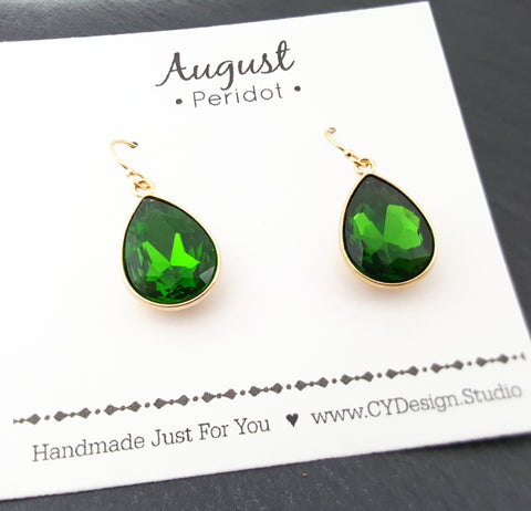 August Birthstone Earrings - Peridot Crystal Gold Filled Teardrop Earrings - Gift for Her