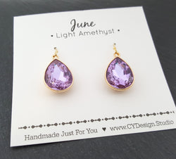 June Birthstone Earrings - Light Amethyst Crystal Gold Filled Teardrop Earrings - Gift for Her