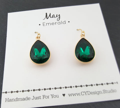 May Birthstone Earrings - Emerald Crystal Gold Filled Teardrop Earrings - Gift for Her