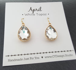 April Birthstone Crystal 14k Gold Filled Earrings
