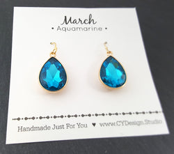 March Birthstone Earrings - Aquamarine Crystal Gold Filled Teardrop Earrings - Gift for Her