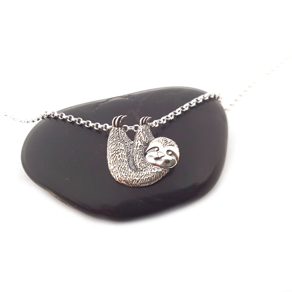 Sloth Charm Necklace - Sterling Silver - Animal Necklace - Gift for Her