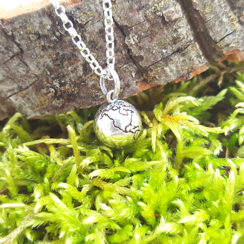 Earth Globe 3D Charm Sterling Silver Necklace