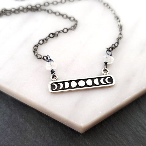 Celestial Moon Phase Charm - Oxidized Sterling Silver Necklace - Gift for Her