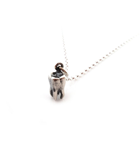 Gift for Her Tiny Tooth Molar Charm Necklace Sterling Silver Necklace