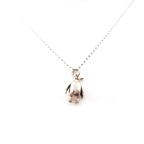 Penguin Charm - Sterling Silver Necklace - Gift for Her