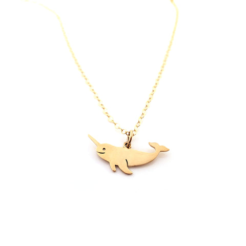Narwhal Charm Necklace - Dainty 14k Gold Filled Jewelry - Gift for Her