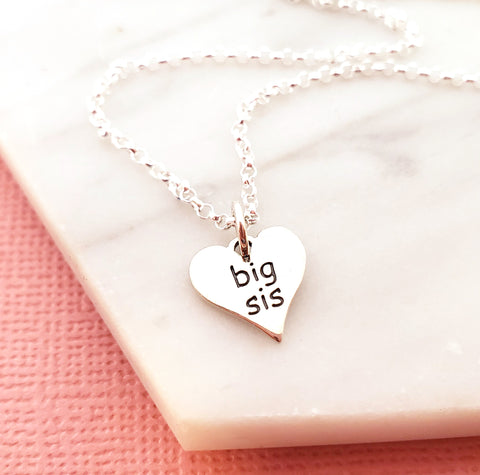 Big Sis Heart Charm - Sterling Silver Necklace - Gift For Sisters