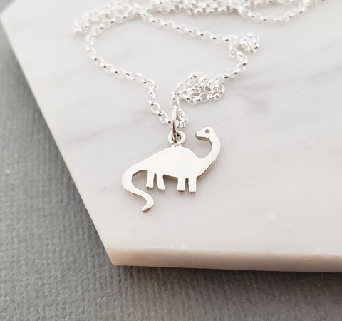 Brontosaurus Dinosaur Charm Necklace - Dainty Sterling Silver Jewelry