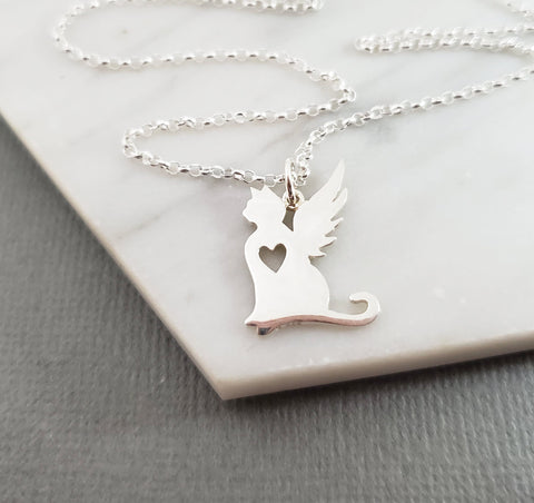 Cat Angel Wing Charm - Sympathy Pet Loss Charm - Sterling Silver Necklace