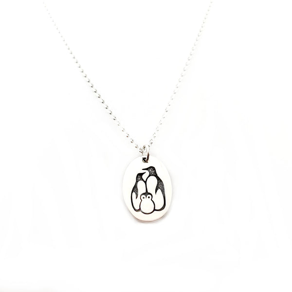 Penguin Family - Sterling Silver Necklace