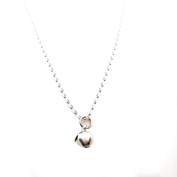Tiny Apple Charm - Sterling Silver Necklace