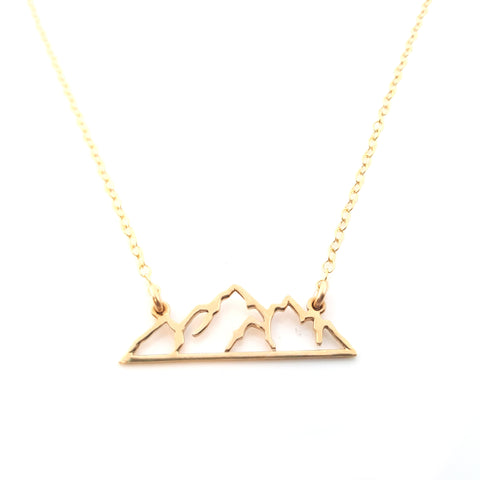 Mountain Bar Charm - Dainty 14k Gold Necklace