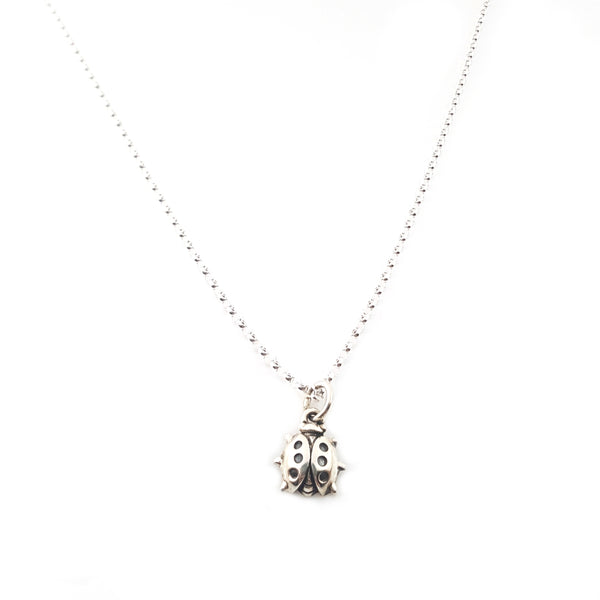Lady Bug Charm - Sterling Silver Necklace
