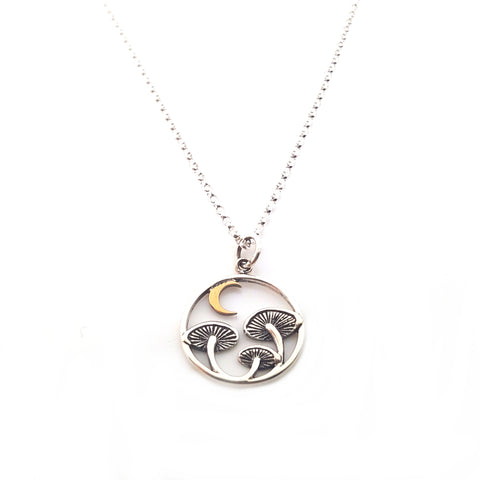 Mushroom with Bronze Moon Charm Necklace - Sterling Silver Jewelry