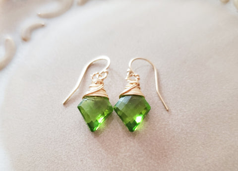 Peridot Hydro Quartz Briolette Diamond Drop 14k Gold Filled Earrings - Minimalist Jewelry for Her