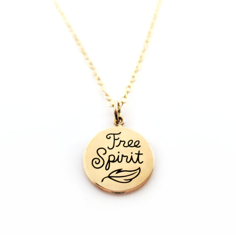 Free Spirit Gold Charm Necklace - Tiny 14k Gold Filled Jewelry
