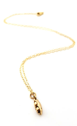 Pea Pod Necklace - 14k Gold Filled Jewelry - Two Pea Pod