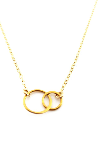 Two Circles of Life Charm - 14k Gold Filled Necklace
