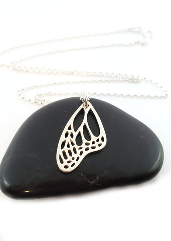 Butterfly Wing Charm Sterling Silver Necklace Simple Jewelry - Gift for Her
