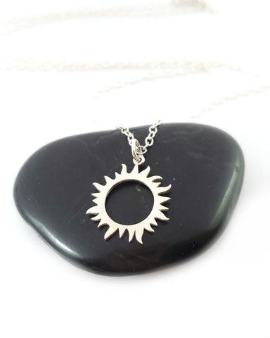 Sun Eclipse Charm Necklace - Sterling Silver Jewelry